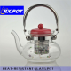 heat resistant borosilicate glass tea pot with glass filter and lid