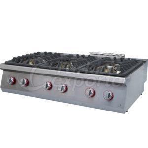 Gas cooker W/six burners