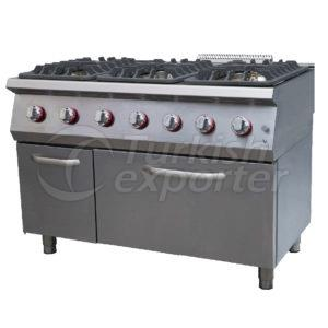 Gas range w/6 burners, 1 oven