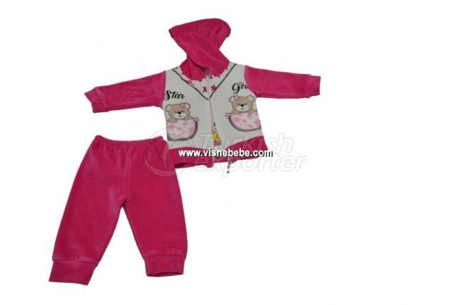 3 Pcs Velvet Bear Baby Set