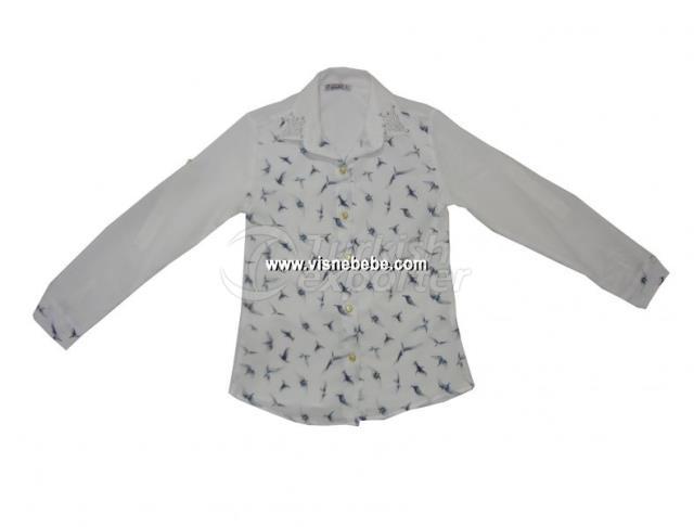 Crepe Girl Shirt with Bird