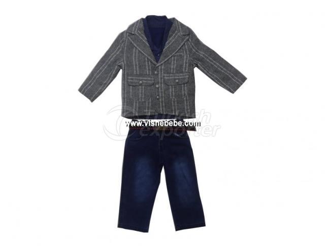 3 Pcs Stripe Jacket Set