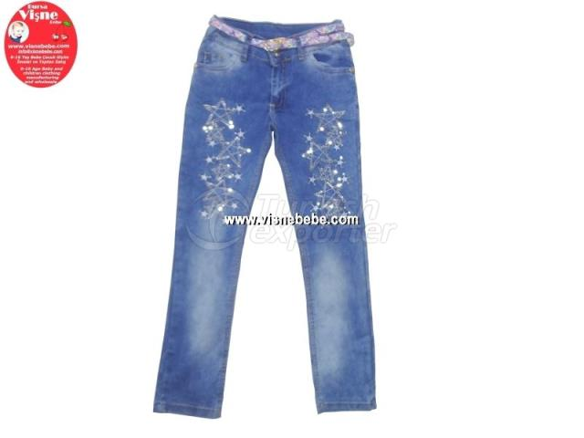 Girl Jeans with Lamellar