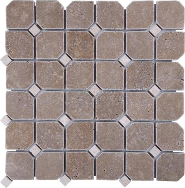 Hexagon Mosaic Noce Light Travertine