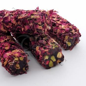Pistachio Turkish Delight Coated With Rose Leaves