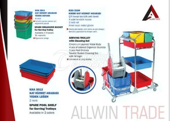 Serving Trolley with Cleaning Sets