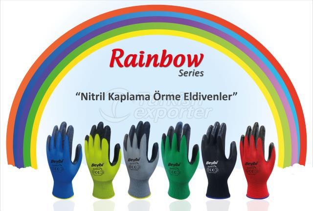 Nitrile Coated Knitted Gloves EL-K7 Rainbow