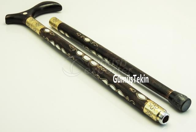 Pearl Inlaid Walking Stick