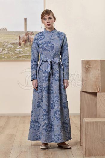 Jacquard Dress 6134 Blue