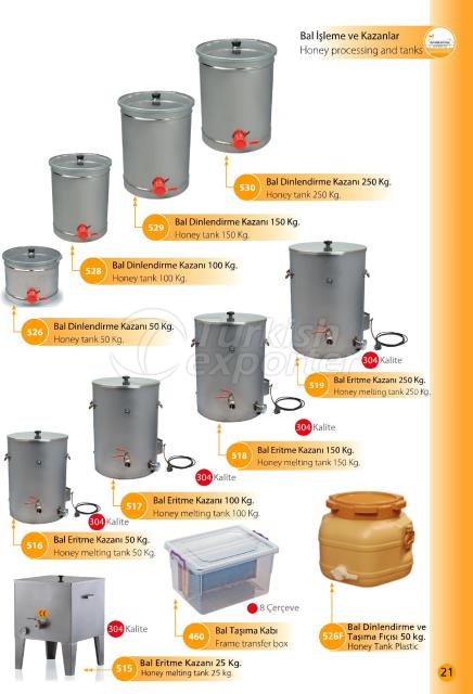 honey processing and tanks