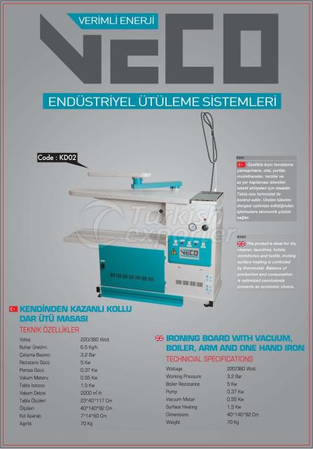 Ironing Board with Vacuum Boiler and Arm