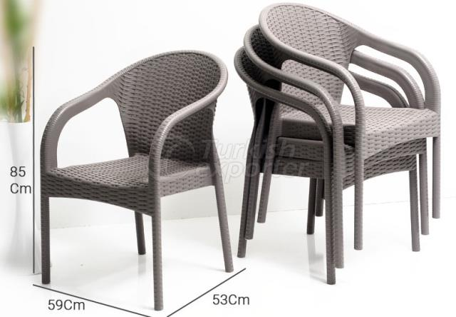 STACKABLE POLY-RATTAN ARMCHAIR