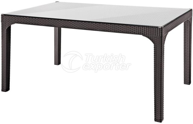 90X150 RATTAN EFFECTED PE TABLE