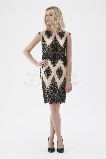 Small Size Embroidered Evening Dress Y7593