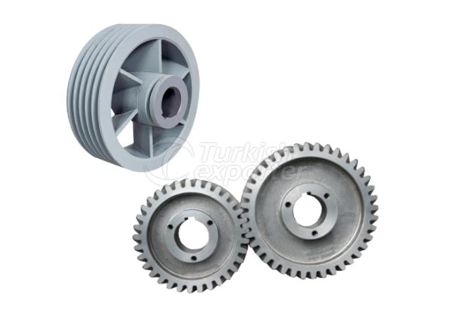 Gear and pulley of roller