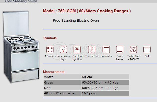Free Stranding Ovens 60x60 Cooking Ranges 7501SGM
