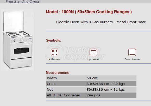 Free Stranding Ovens 50x50 Cooking Ranges 1000N