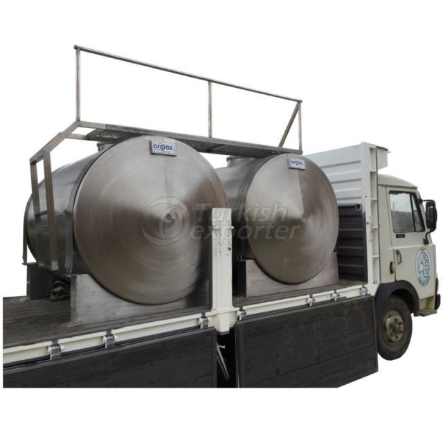 Milk Transport Tank in Truck Bed