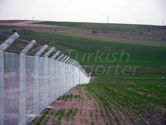 Barbed Fence With Concrete Column