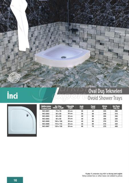 Ovoid Shower Trays İnci