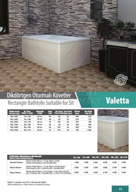 Rectangle Bathtubs Valetta