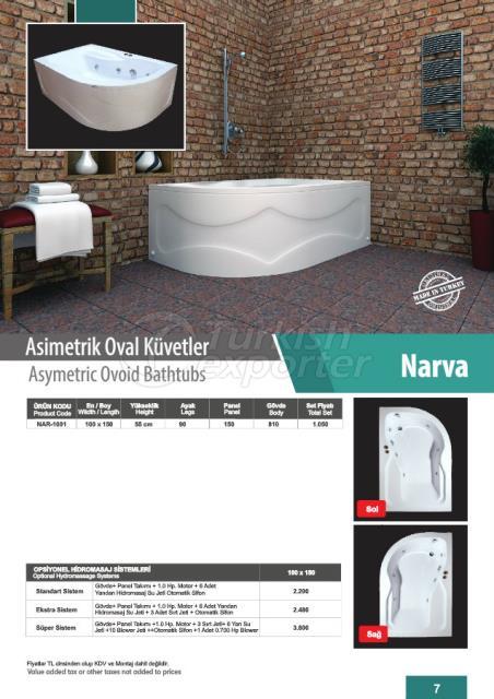 Asymetric Ovoid Bathtubs Narva