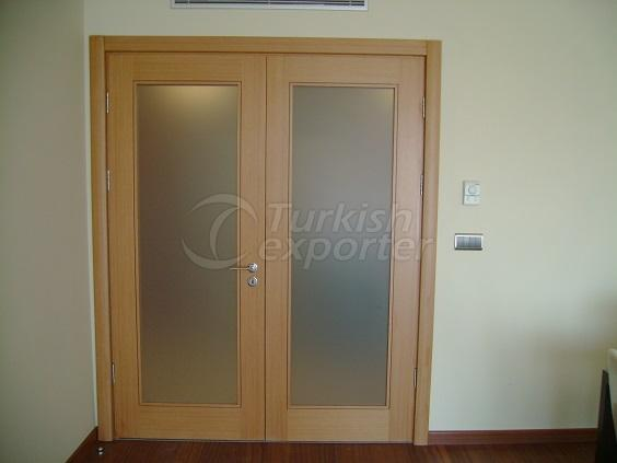 Veneered Double Glass Door