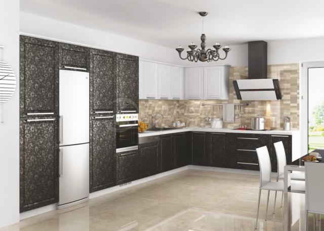 Membrane Cabinet Doors 143 Siyah Çiçek