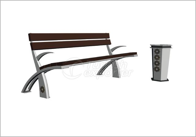 Benches and Trash Cans BN-003