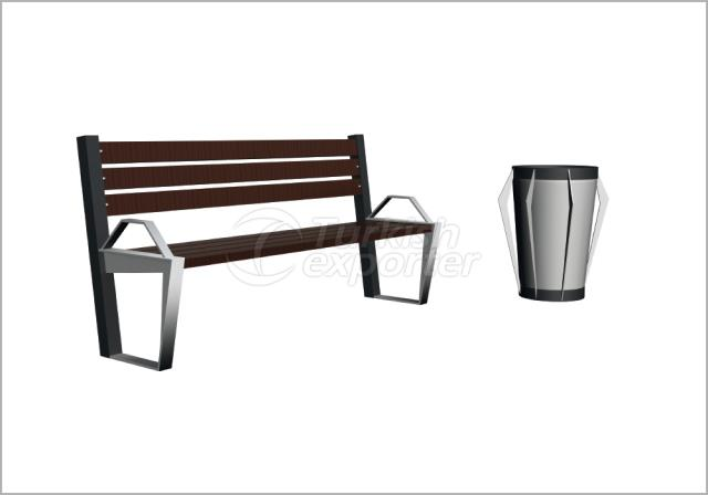 Benches and Trash Cans BN-002