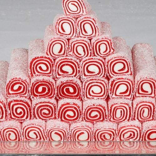 Roll Turkish Delight on Plate