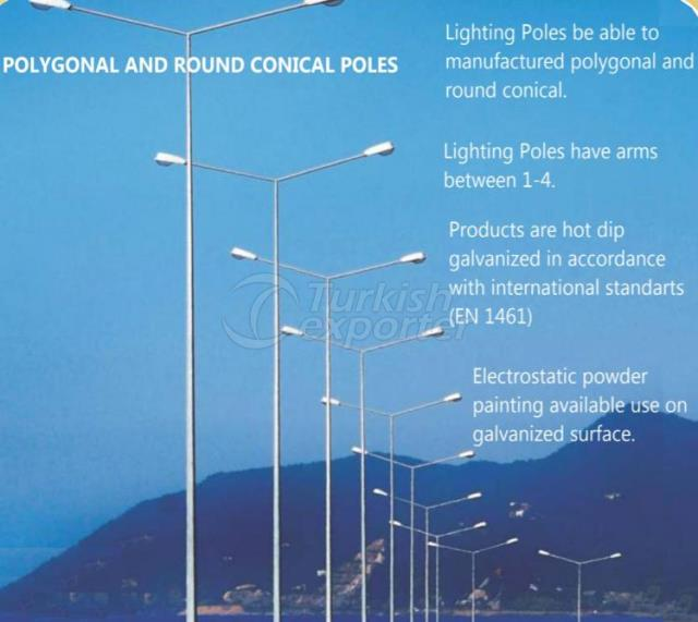 Polygonal and Round Conical Poles
