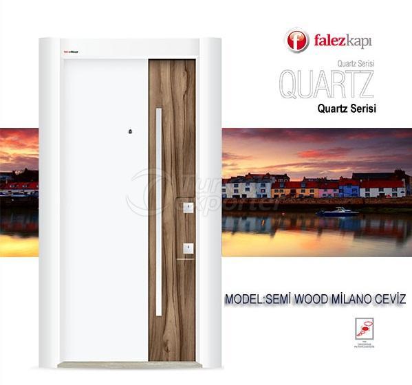 Steel Door Semi Wood Milano Ceviz