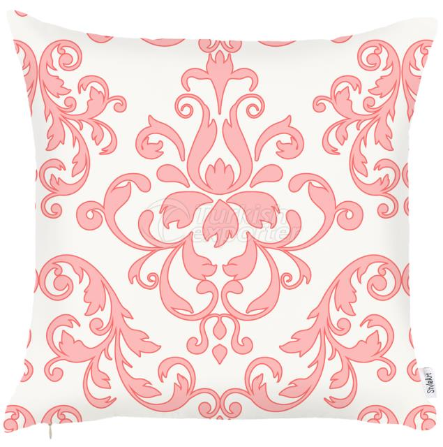 White and pink baroque pillowcase