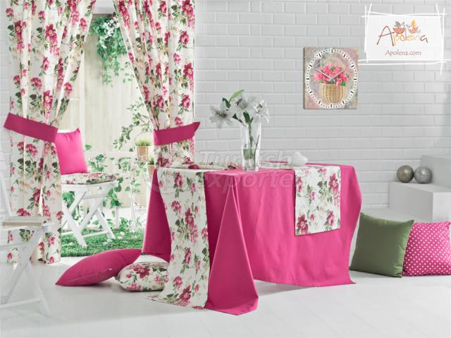 Fuschia and green ready curtains