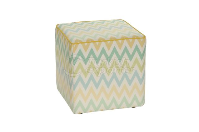 Pouf (Hassock) turquoise and yellow