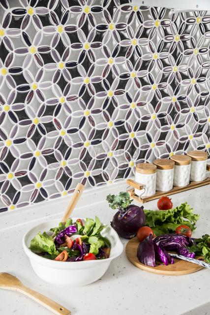 Flower shape porcelain mosaic tile.