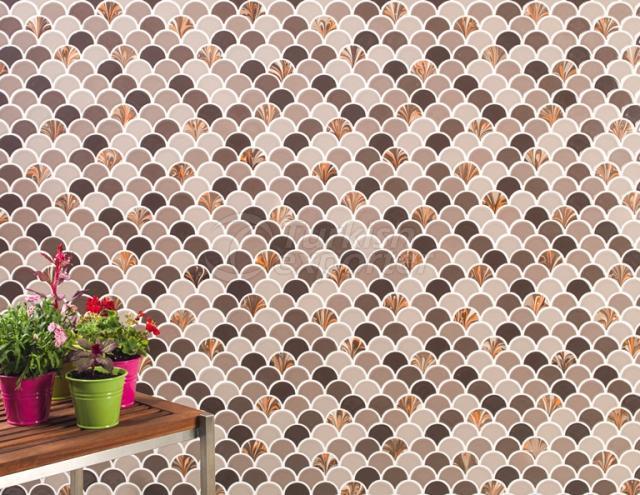 Drop type porcelain mosaic tile.