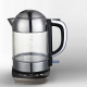 With 1.7L heat-resistant cordless glass electric kettle
